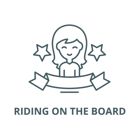 Riding on the board vector line icon, outline concept, linear sign Illustration