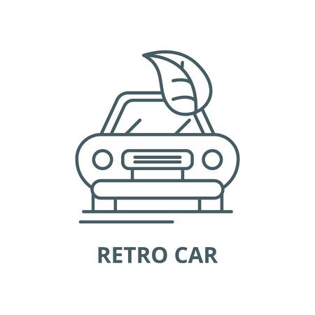 Retro car vector line icon, outline concept, linear sign