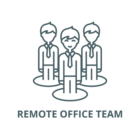Remote office team vector line icon, outline concept, linear sign Banque d'images - 122348121
