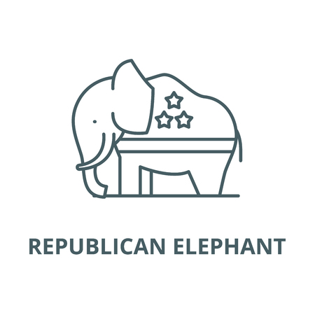Republican elephant vector line icon, outline concept, linear sign