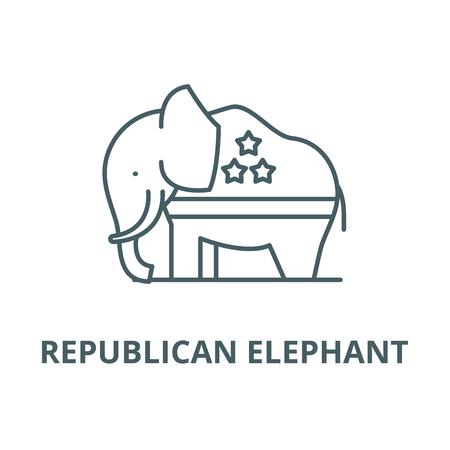Republikanischer Elefant Vektorliniensymbol, Umrisskonzept, lineares Zeichen