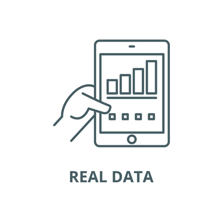 Real data vector line icon, outline concept, linear sign Иллюстрация