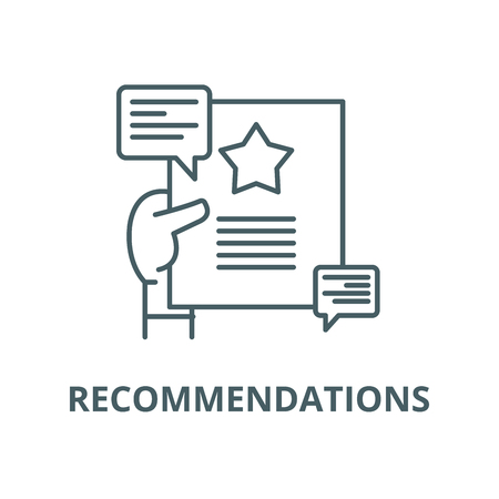 Recommendations vector line icon, outline concept, linear sign