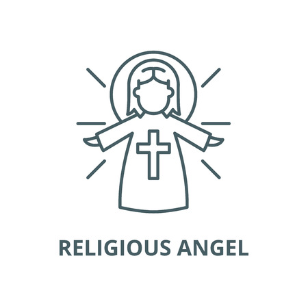 Religious angel vector line icon, outline concept, linear sign Ilustracja