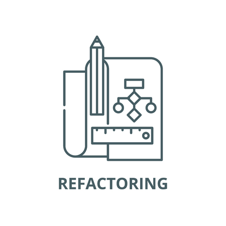 Refactoring vector line icon, outline concept, linear sign