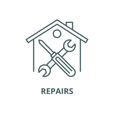 Repairs vector line icon, outline concept, linear sign Ilustrace