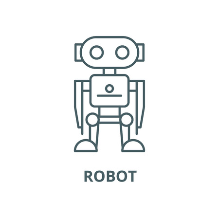 Robot vector line icon, outline concept, linear sign