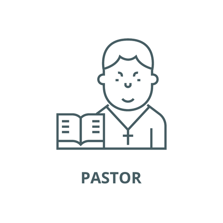 Pastor vector line icon, outline concept, linear sign