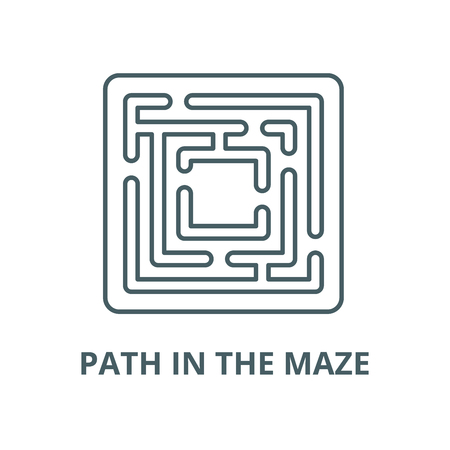 Path in the maze vector line icon, outline concept, linear sign 向量圖像