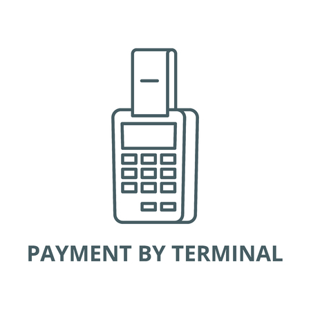 Payment by terminal vector line icon, outline concept, linear sign