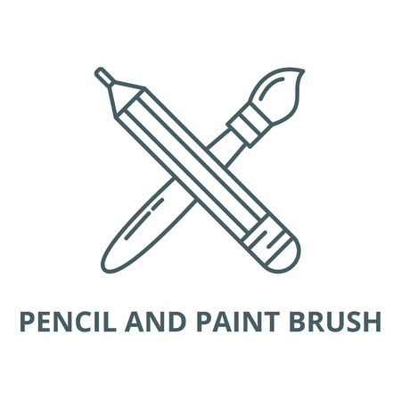 Pencil and paint brush vector line icon, outline concept, linear sign Archivio Fotografico - 122348237