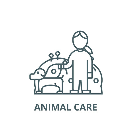 Pets care,dog with woman,animal care vector line icon, outline concept, linear sign