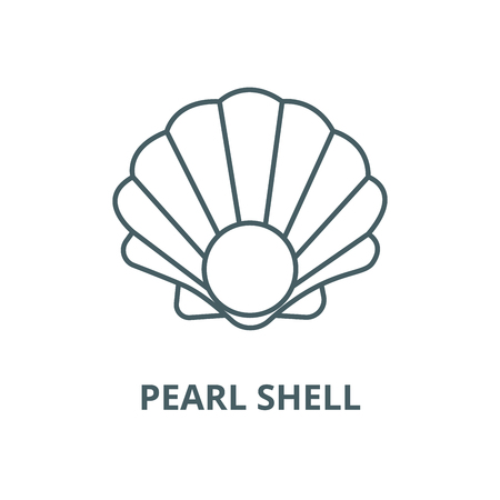 Pearl shell vector line icon, outline concept, linear sign Standard-Bild - 122348243