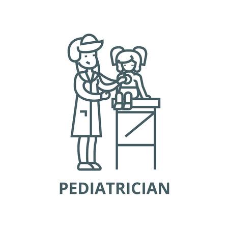 Pediatrician doctor,woman doctor  vector line icon, outline concept, linear sign Illusztráció