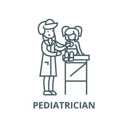 Pediatrician doctor,woman doctor  vector line icon, outline concept, linear sign Illustration