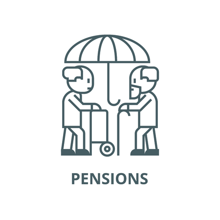 Pensions,umbrella,protection,long  vector line icon, outline concept, linear sign