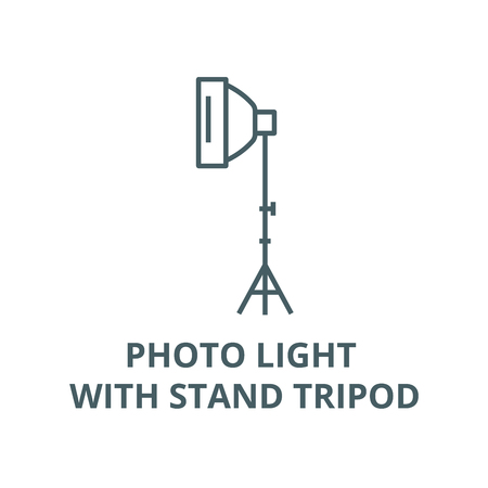 Photo light with stand tripod vector line icon, outline concept, linear sign