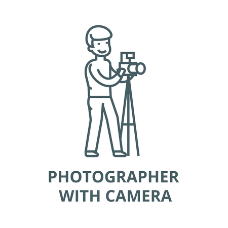 Photographer with camera and  vector line icon, outline concept, linear sign