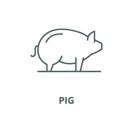 Pig vector line icon, outline concept, linear sign