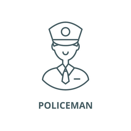 Policeman vector line icon, outline concept, linear sign