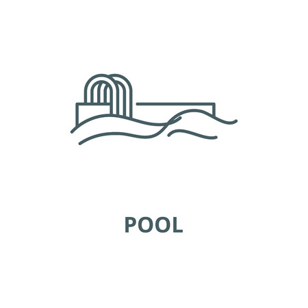 Pool vector line icon, outline concept, linear sign Illustration