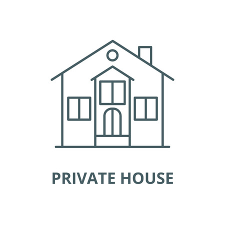 Private house vector line icon, outline concept, linear sign