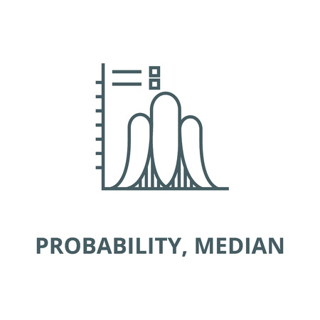 Probability, median  vector line icon, outline concept, linear sign Ilustração