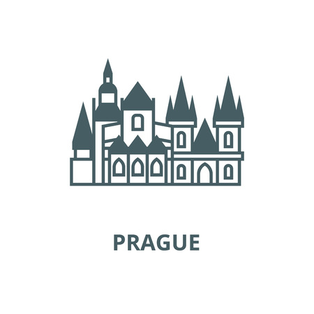 Prague vector line icon, outline concept, linear sign