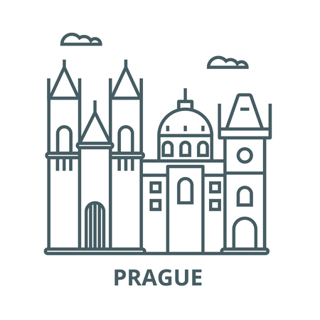 Prague sign vector line icon, outline concept, linear sign