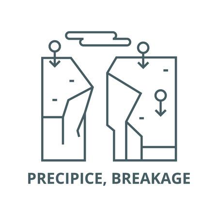 Precipice, breakage vector line icon, outline concept, linear sign Illustration