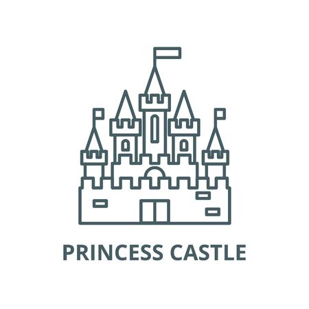 Princess castle vector line icon, outline concept, linear sign Ilustrace