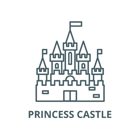 Princess castle vector line icon, outline concept, linear sign Illustration