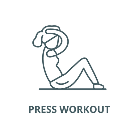 Press workout vector line icon, outline concept, linear sign  イラスト・ベクター素材