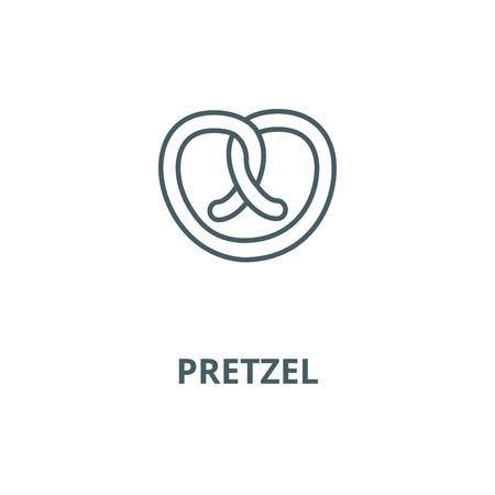 Pretzel linea del vettore icona, concetto di contorno, segno lineare