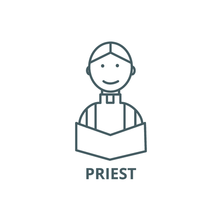 Priest at wedding in church vector line icon, outline concept, linear sign
