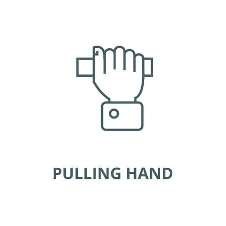 Pulling hand  vector line icon, outline concept, linear sign