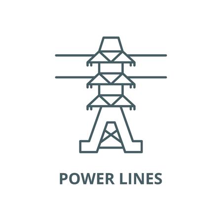 Power lines vector line icon, outline concept, linear sign Foto de archivo - 122348347