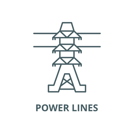 Power lines vector line icon, outline concept, linear sign