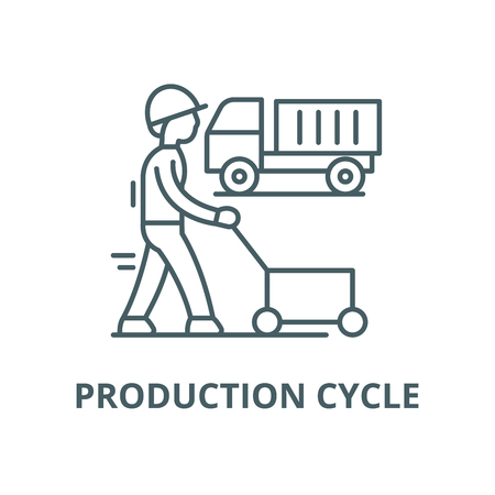 Production cycle vector line icon, outline concept, linear sign