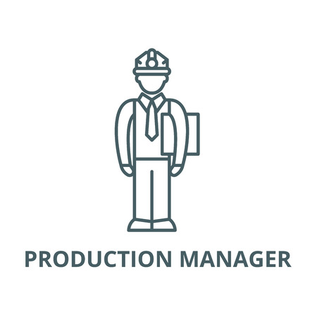 Production manager vector line icon, outline concept, linear sign