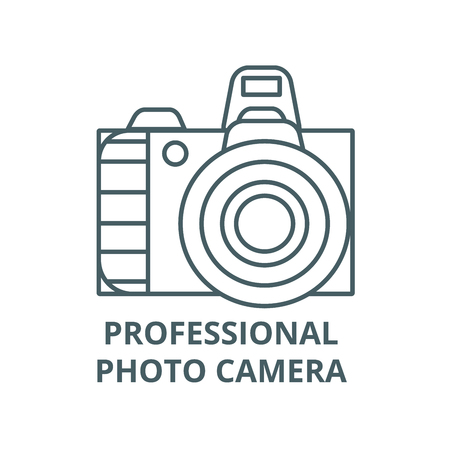 Professional photo camera  vector line icon, outline concept, linear sign