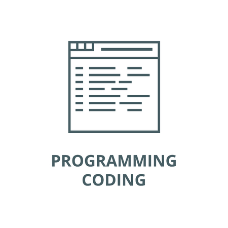 Programming,coding vector line icon, outline concept, linear sign Illustration