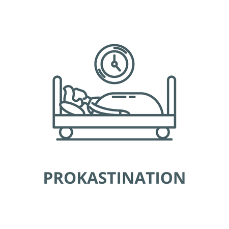 Prokastination vector line icon, outline concept, linear sign