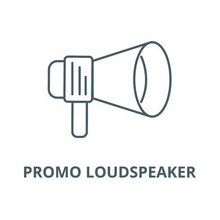 Promo loudspeaker sign vector line icon, outline concept, linear sign