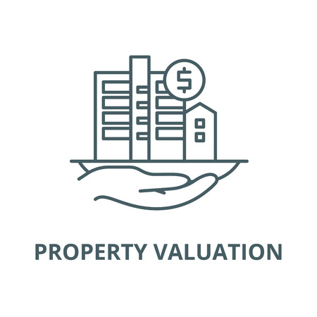 Property valuation vector line icon, outline concept, linear sign Illustration