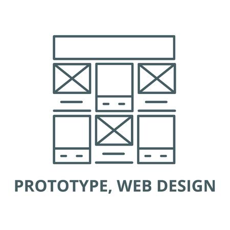 Prototype, web design vector line icon, outline concept, linear sign