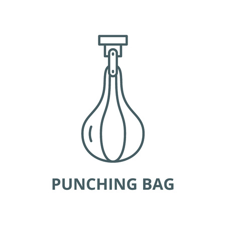 Punching bag vector line icon, outline concept, linear sign