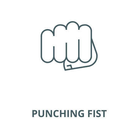 Punching fist vector line icon, outline concept, linear sign