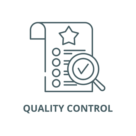 Quality control vector line icon, outline concept, linear sign Çizim