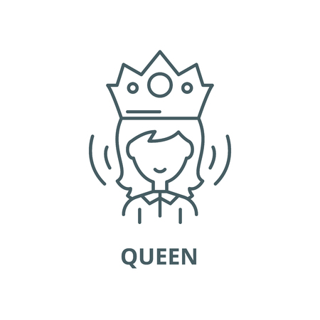 Queen vector line icon, outline concept, linear sign